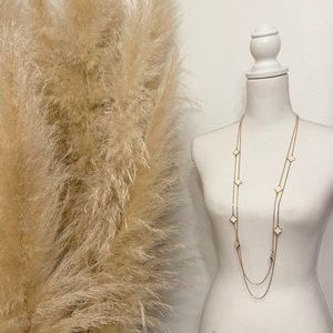 vintage multi layer necklace gold tone clover